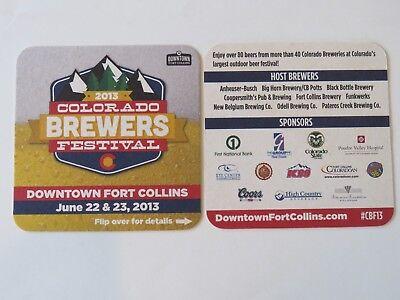 Beer Bar Coaster ~ Fort Collins, COLORADO 2013 Brewers Festival; Odell,Coors,A-B, usado segunda mano  Embacar hacia Argentina