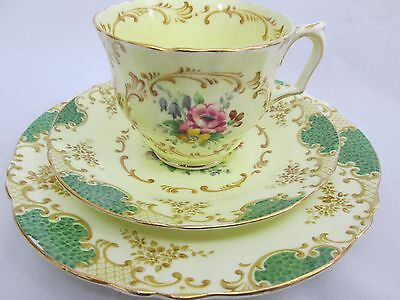 LOVELY CROWN STAFFORDSHIRE CHINA TRIO TEACUP SAUCER PLATE