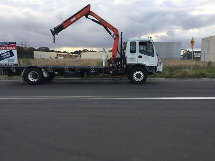 Crane truck ready for work