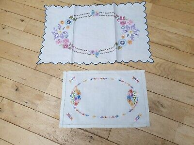 Assortment of Vintage Linen Place Mats Hand Stitched