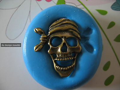 Pirate Scary Skull Halloween Silicone Mould/Mold Sugarpaste,Cupcake, Cake Topper