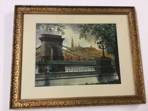 Budapest Signed Watercolor Bridge With City Background Great Frame