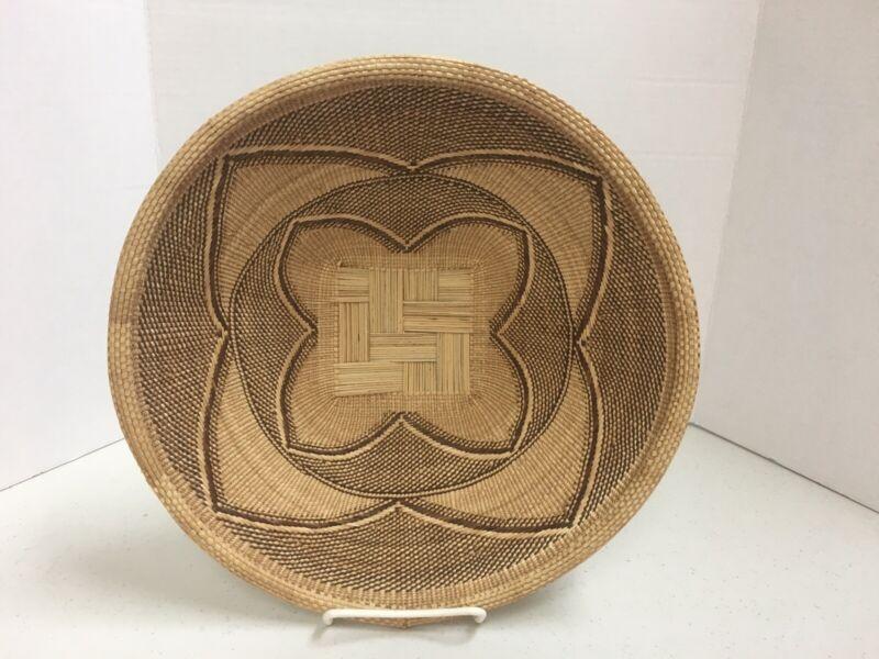 """Zimbabwe Tonga BINGA Basket Beautiful Tightly Woven Minimalist Folk Art 12"""""""