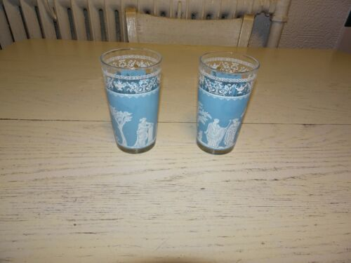 2 Wedgewood Tumblers Glasses Blue Greek Scene Culture 5""