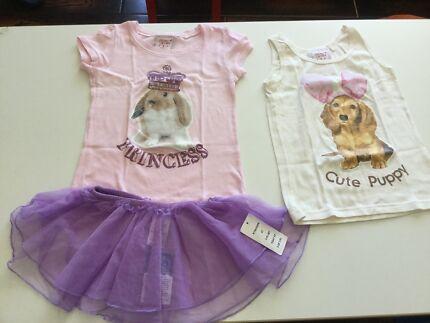 Girl 3T 4T Bunny Rabbit Puppy Shirt Sleeveless +  Purple Skirt