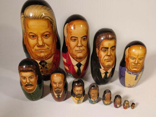 Vintage Succession of Russian Leaders Matryoshka Nesting Dolls set of 12