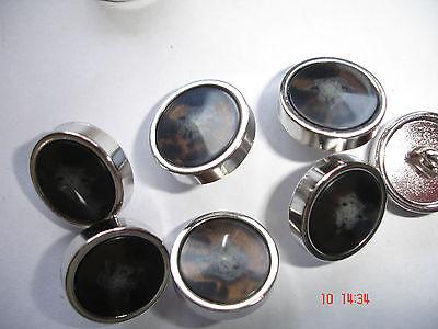 5 Knöpfe braun schwarz gemasert in silbriger Metallronde 15mm, Annähöse W42.16
