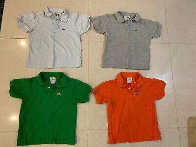 Lots Of 4 Lacoste Kids Boys Orange, Green,gray, Blue Polo Shirt Size 8
