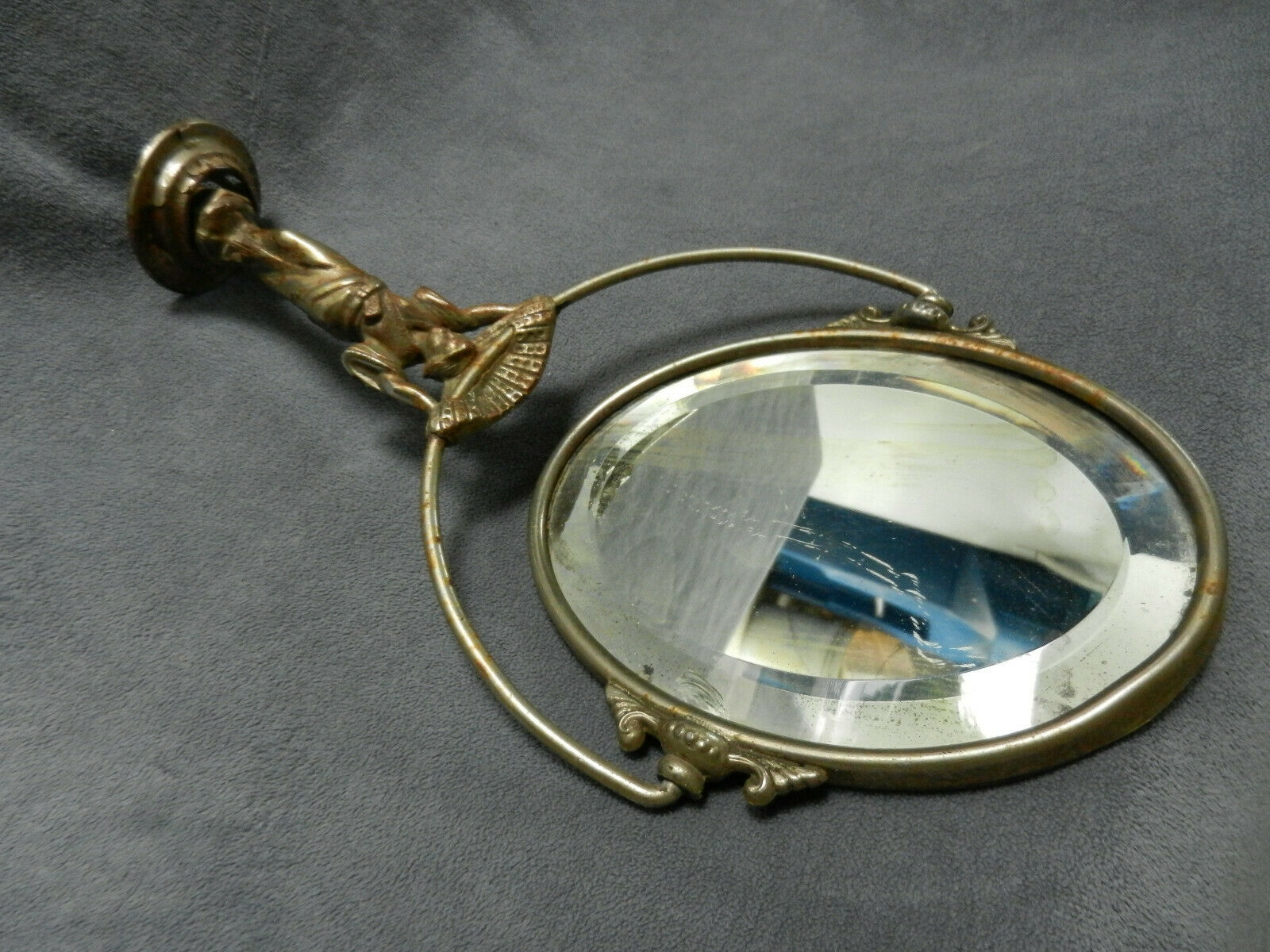 Antique bolt On Personal Size Oval Mirror, Plated Cast Iron Figure Ornaments - $14.99