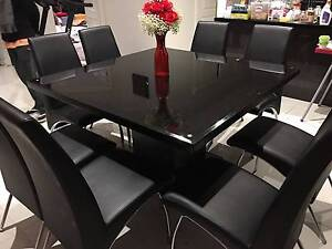 Exquisite Stylish Square Dining GlassTop Table & 8 Leather chairs Taylors Hill Melton Area Preview