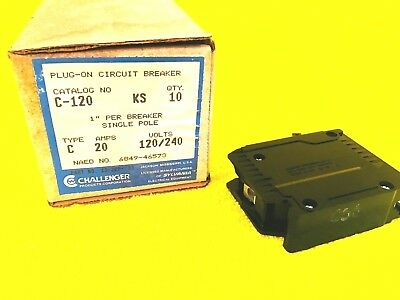 New Challenger C120 20 Amp 1-pole Plug In Circuit Breaker