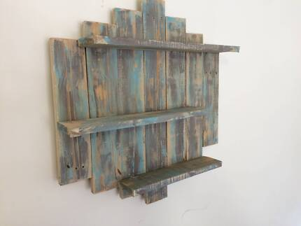 3 Tier Shelf Made Out Of Recycled Pallets Blue & White Wash...