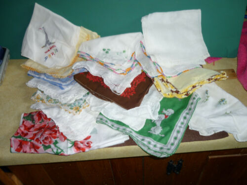 Lot 15 Vtg Ladies Hankies All types fabric styles embroidery crochet dog flower