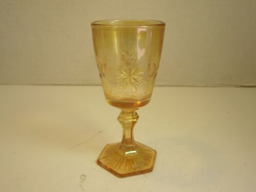 1910 Indiana Glass Co Marigold Flashed Bethlehem Star Carnival Glass Wine Goblet