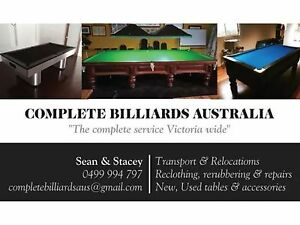 Pool, billiard & snooker table recloths, relocations & refurbs Narre Warren South Casey Area Preview