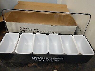 1x New Absolut Vodka Black 6 Slot Condiment Traygarnish Tray Bargameroomnos