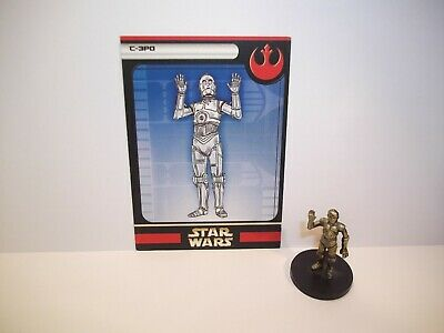 Star Wars Miniatures - C-3PO 02/60 + Card - Rare - Rebel Storm