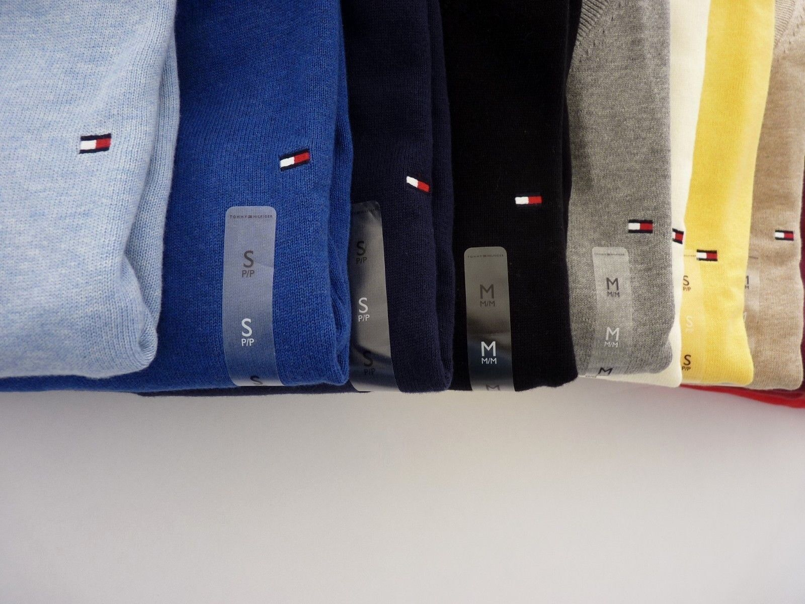 NWT Tommy Hilfiger V-Neck Sweater For Man Solid Multi Color S M L XL 2XL