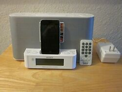 Sony ICF-CS10iP White Dream Machine Speaker Dock AM FM Clock Radio with Remote