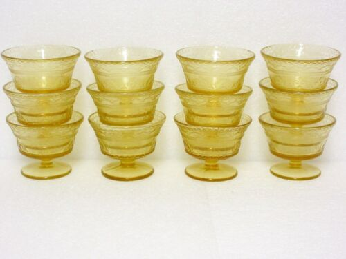12  Amber Patrician / Spoke  Footed Sherbets / Federal Glass Co.