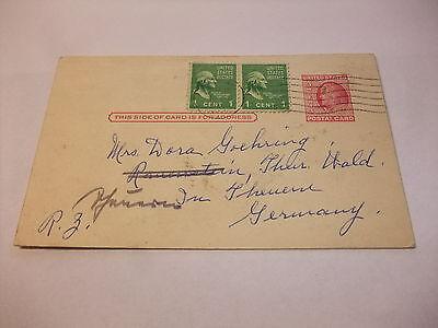 alte Postkarte Karte Ganzsache AK PK mit Zusatzfranktur USA 1912 ???