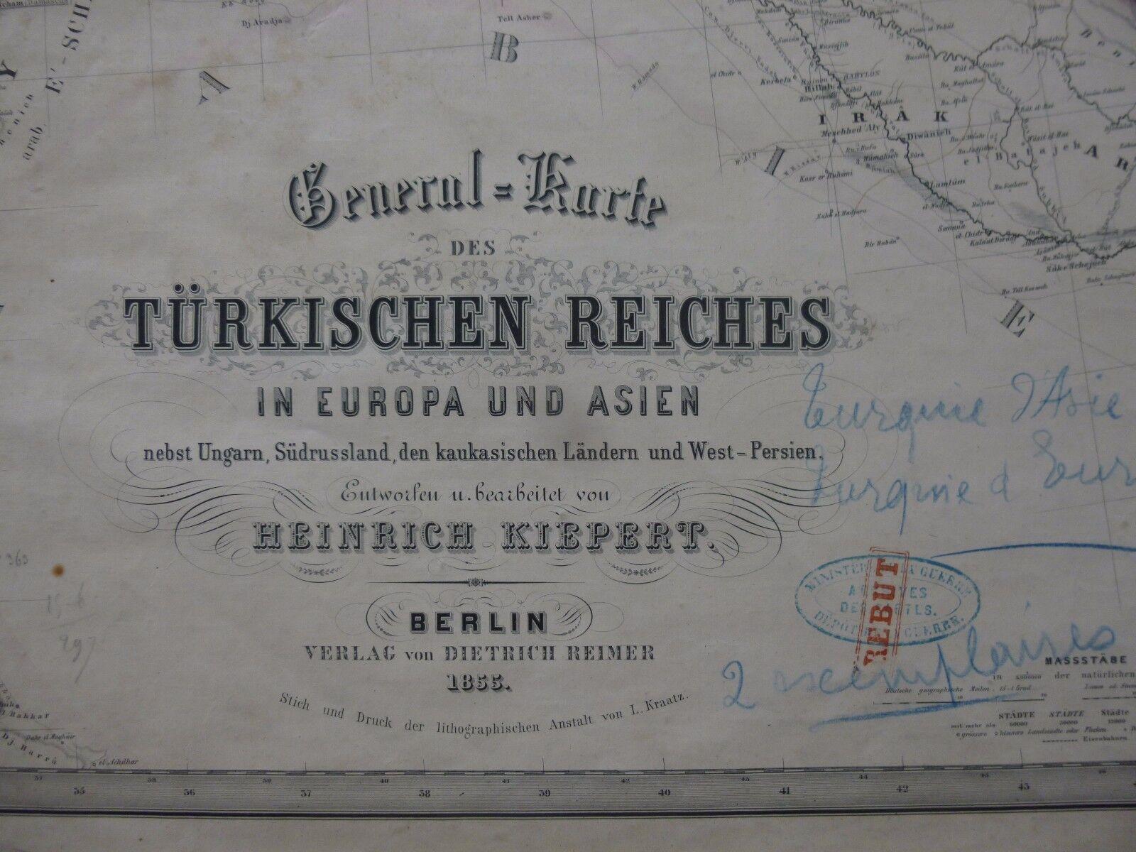 empire ottoman]. kiepert (heinrich). general=karte des türkischen reiches 1855