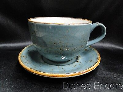 Steelite Performance Craft, England: NEW Blue Low Cup & Double Well Saucer