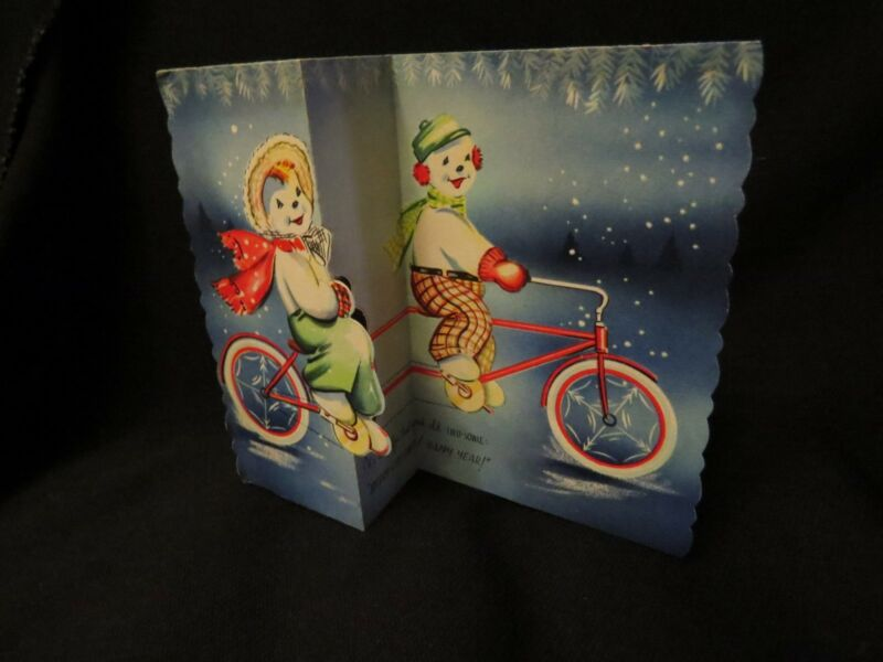 Vintage Snow Couple On Bicycle Built For Two Christmas Card 1940S