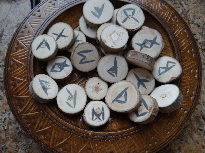 Natural Poplar Wood Runes Wiccan Pagan Altar Divination Supply