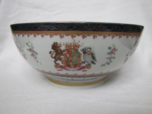 Large Antique 18th C. French Samson Chinese Export Punch Bowl