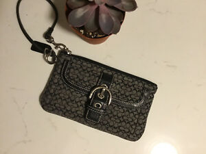 Black and Grey Coach Wristlet