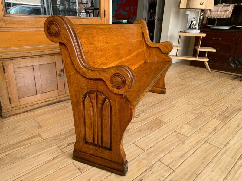 Beautiful Antique Oak Church Pew Bench St. Paul Minnesota 61""