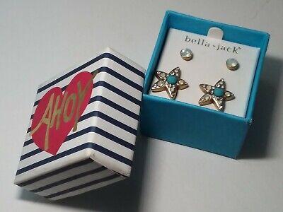 NEW Bella Jack Blue STAR FISH Stud EARRING SET 2 Prs Box PIERCED STUD Retail $28 Blue Stud Earring Box