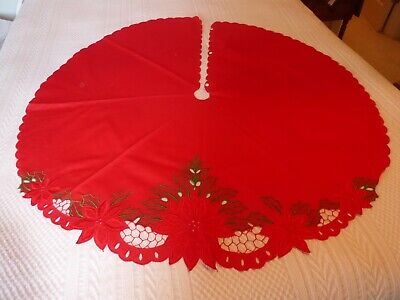 "Tree Skirt Red Fabric Embroidered Poinsettia Cutwork Scalloped Edge 43"" (S0"