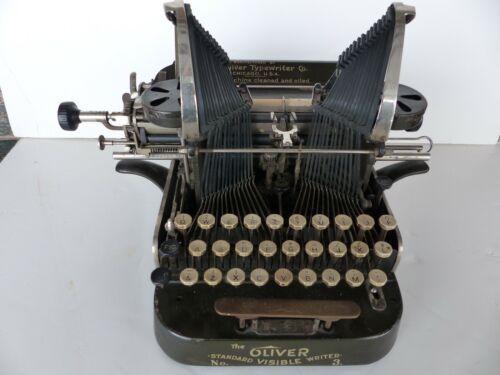 antique oliver batwing typewriter co model no 3 standard visible writer