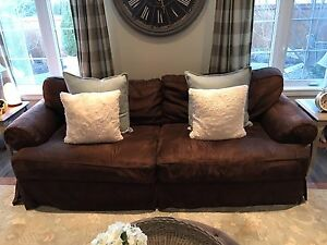 Ultra suede brown couch and 2 side arm chairs