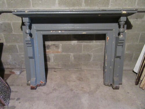 ~ ORNATE ANTIQUE SYCAMORE FIREPLACE MANTEL ~ 47 OPENING ~ ARCHITECTURAL SALVAGE