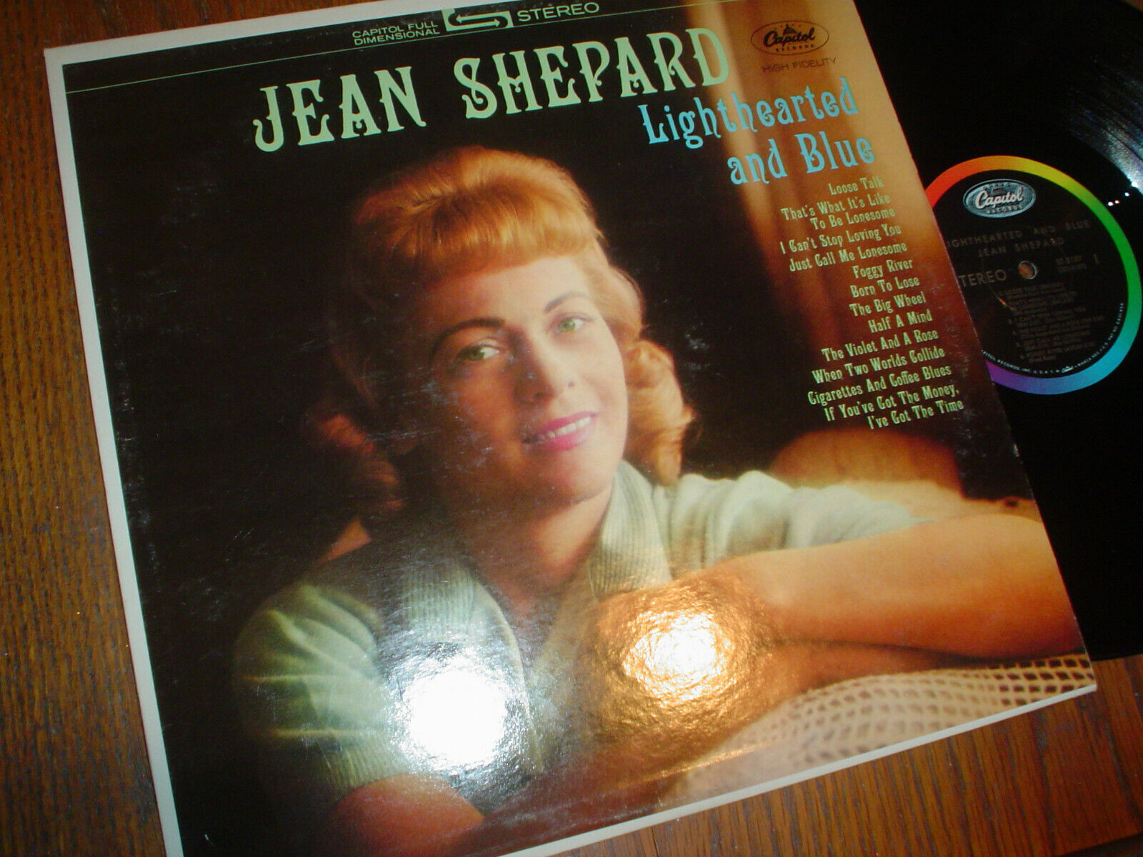 VG JEAN SHEPARD LP LIGHT HEARTED AND BLUE CAPITOL / STEREO / A1964 ISSUE - $2.37
