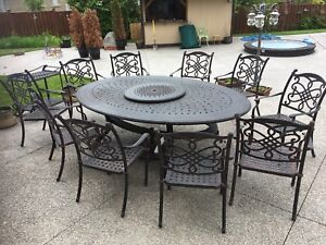 Cast iron Patio table & chairs (seats 10)