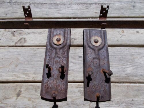 "Antique National Barn Door Hardware Rollers and 72"" Ribbon Track"