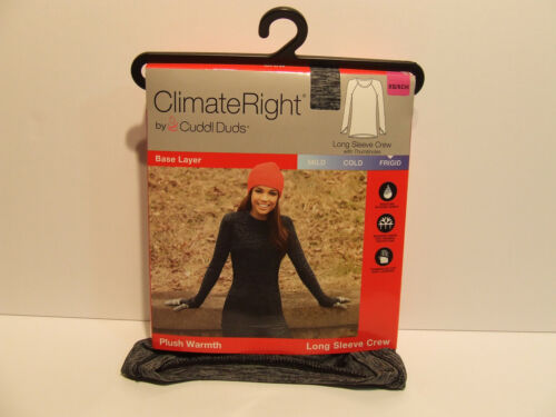 Climate Right Cuddl Duds Black/Grey Long Sleeve Crew Plush Warmth Size XS