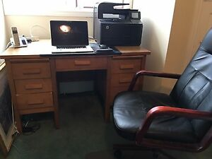 Solid heavy wood desk and chair