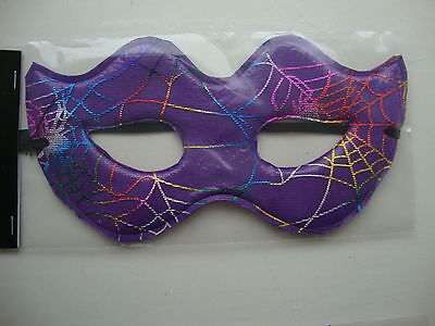 Halloween Eye Mask Fancy Dress Party Mask Purple with Shiny Cobwebs Masked Ball - Cobweb Eyes Halloween