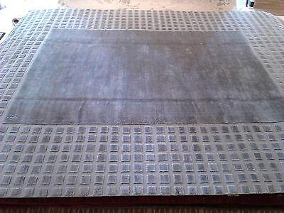 Modern Solid rug 9'x12' silk woven Carpet light gray new tex