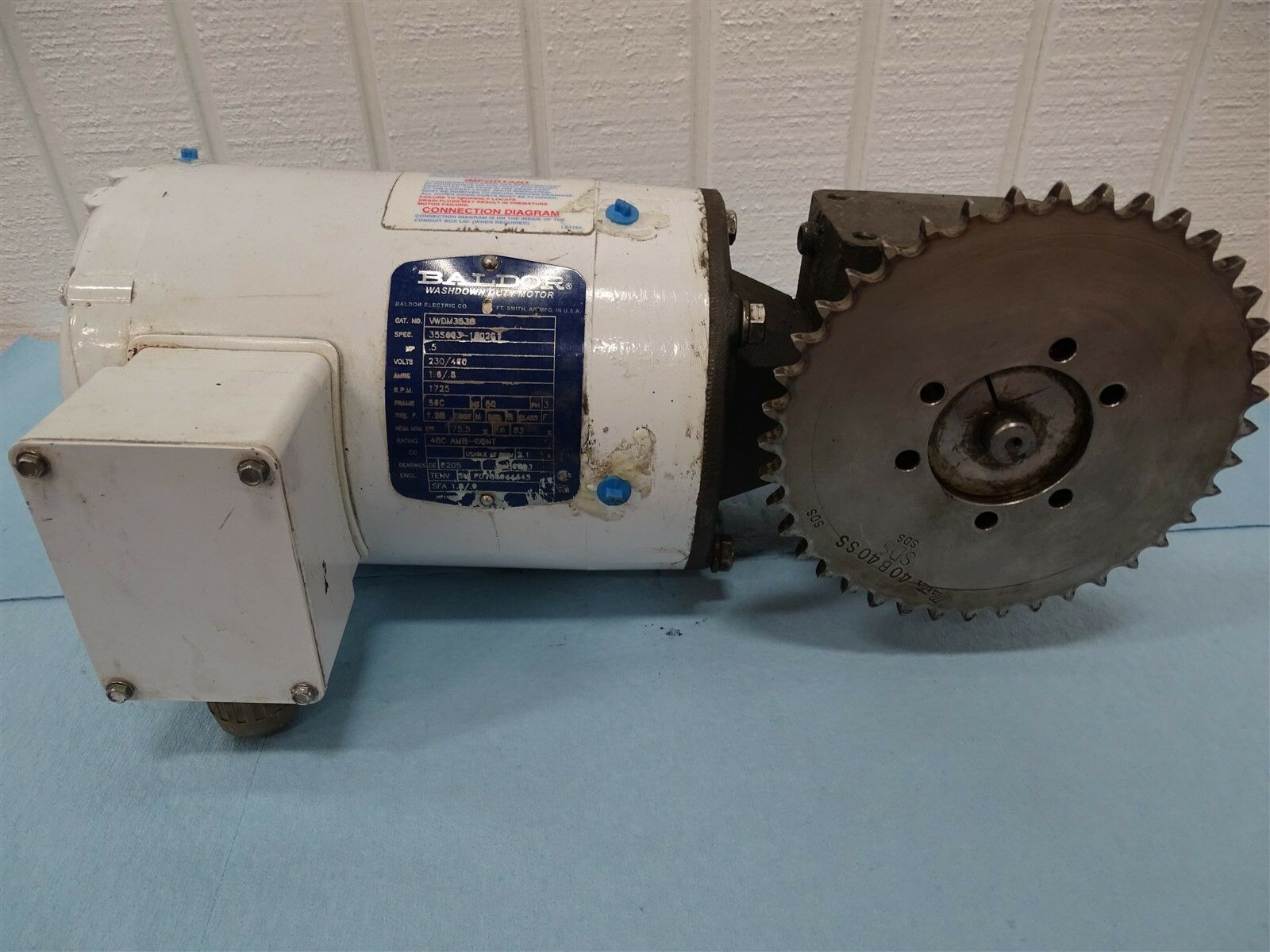 Baldor VWDM3538 Electric Motor .5HP 1725RPM 3PH Fr.56C 230/460V 1.6/.8A 60HZ