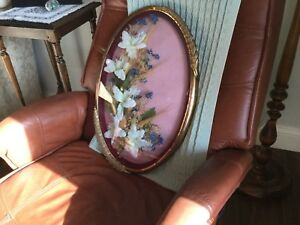 Antique curved glass in brass frame
