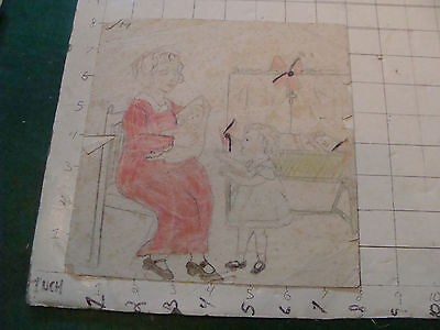 original MEIJER art:MOM, BABY & CHILD spotted, fold line,  circa 1930's or 40's