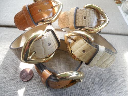"Vintage NOS lot of 5 faux leather leatherette 1"" embossed buckle bracelets B 4"
