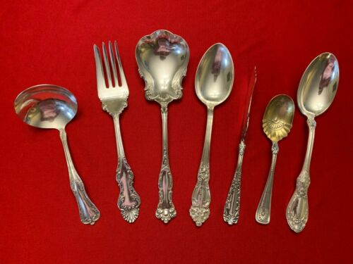 Antique Silverplate Set of 7 Mixed Ornate Patterned SERVING PIECES  1880 - 1910