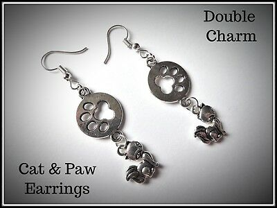 Cute Cat & Paw Earrings,Kitten,Pierced,Fashion,Costume,Gift - Double Costumes Ideas
